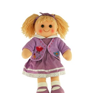Lovely Soft Rag Doll FLORENCE in a Purple Dress 35cm New