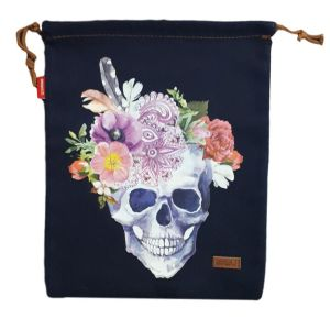 Denim and Co Tote or Library Bag with HTV Boho Skull on Front