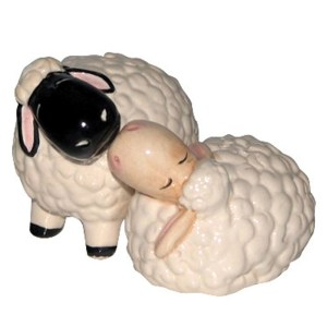 French Country Collectable Novelty Kitchen Magnetic SHEEP Salt and Pepper Set