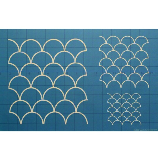 Quilting Full Line Stencil CLAMSHELLS Reusable A3 use with Pounce New