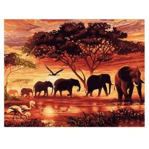 5D Diamond Painting Full Image Square Drills ELEPHANT FAMILY 40x50cm
