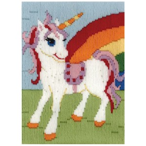BEUTRON Long Stitch Kit Kids Beginner RAINBOW UNICORN 13x18cm New