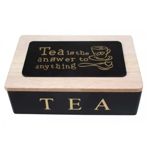 French Country Tea Bag Box TEA IS THE ANSWER BLACK Wood Teabag Holder New