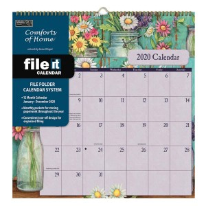 2020 Wells Street FILE IT Calendar COMFORTS OF HOME New Wall Hanging