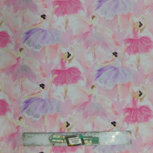 Quilting Patchwork Sewing Fabric BALLERINA BALLET 50x55cm FQ New