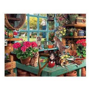 5D Diamond Painting Full Image Square Drills POTTING SHED CATS 50X40cm