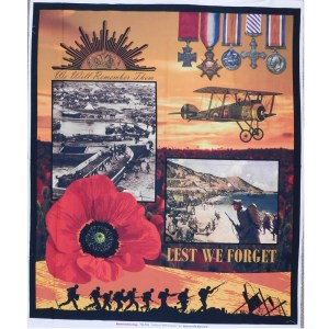 Patchwork Quilting Sewing Fabric ANZAC LEST WE FORGET Panel 90x110cm New