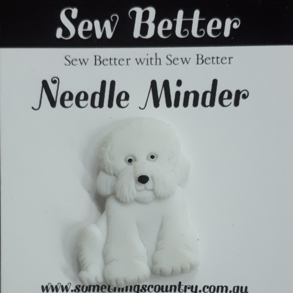 Sew Better Cross Stitch Needle Minder Keeper WHITE DOG