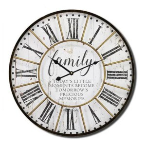 Clock Country Vintage Inspired Wall NATIVES FAMILY 34cm