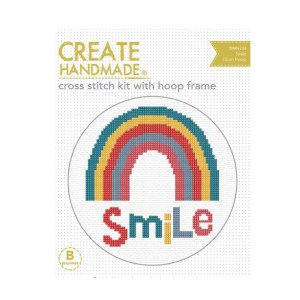Create Handmade Cross Stitch Kit With Hoop SMILE RAINBOW 15cm