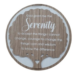 French Country Wooden Round Sign GRANT SERENITY Plaque Hang or Stand