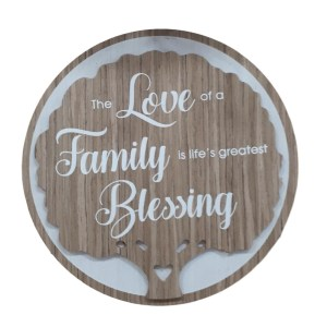 French Country Wooden Round Sign LOVE FAMILY BLESSING Plaque Hang or Stand