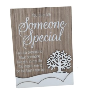 French Country Wooden Sign SOMEONE SPECIAL Tree Plaque Hang or Stand