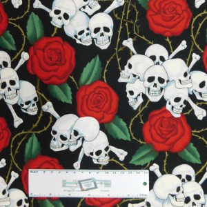 Quilting Patchwork Fabric SKULLS AND ROSES Allover 50x55cm FQ