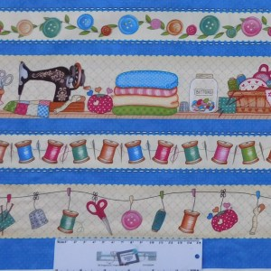 Quilting Patchwork Fabric SEW LETS STITCH Border 50x55cm FQ