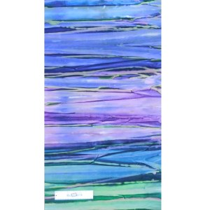 Quilting Patchwork Fabric BATIK PURPLE GREENS STRIPS Wide Backing 270x50cm New