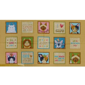 Patchwork Quilting Sewing Fabric LIVE LOVE MEOW CAT Panel 61x110cm