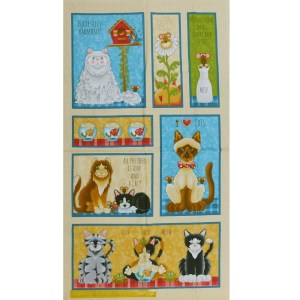 Patchwork Quilting Sewing Fabric LIVE LOVE MEOW CAT 2 Panel 61x110cm