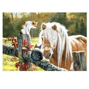 5D Diamond Painting Full Image Square Drills HORSE and CATS 40x50cm