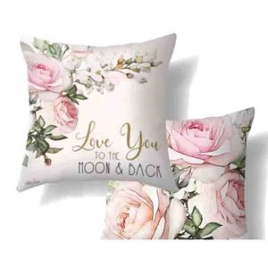 Christmas Cushion ENGLISH ROSE Love you Moon 45x45cm inc Insert