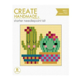 CREATE HANDMADE Needlepoint Kit Kids CACTUS 15x15.5cm