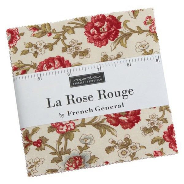 Quilting Charm Pack Patchwork MODA LA ROSE ROUGE 5 Inch Sewing Fabrics