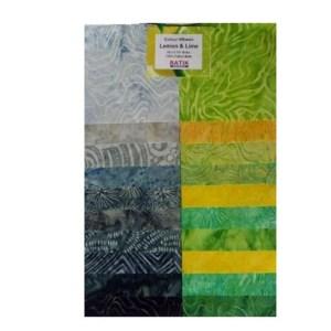 Quilting LAYER CAKE Patchwork Batik Australia LEMON LIME 10 Inch Fabrics