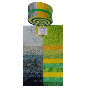 Quilting Jelly Roll Patchwork Batik Australia LEMON LIME 2.5 Inch Sewing Fabric