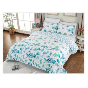 French Country Patchwork Bed Quilt PARADISE BLUE Throw Coverlet