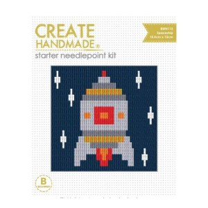 CREATE HANDMADE Needlepoint Kit Kids SPACESHIP 15x15.5cm