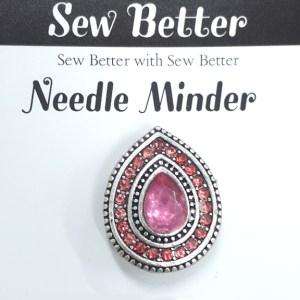 Sew Better Cross Stitch Needle Minder Keeper CRYSTALS PINK TEARDROP