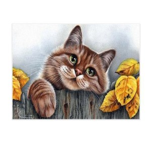 5D Diamond Painting Full Image Squares CAT ON FENCE 30x40cm