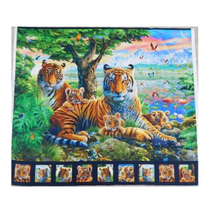 Patchwork Quilting Sewing Fabric TIGER KING Panel 95x110cm Material