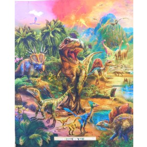 Patchwork Quilting Sewing Fabric DINOSAUR WORLD Panel 89x110cm Material