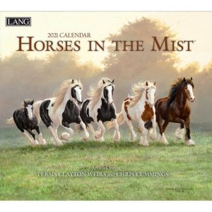Lang 2021 Calendar HORSES IN THE MIST Calender Fits Wall Frame