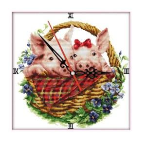 Cross Stitch Kit PIG IN FLOWER BASKET X Stitch Joy Sunday Inc Threads