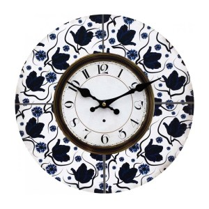 Clocks Wall Hanging Vintage Looking White with Blue Floral Clock 34cm
