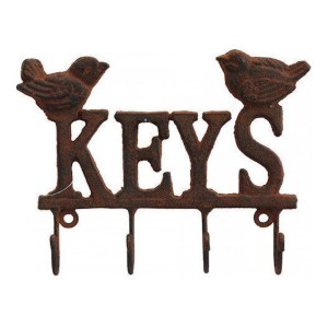 Vintage Wall Art Keys Hooks Double Bird Hanger Wrought Iron