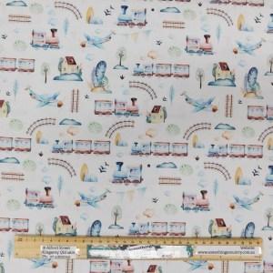 Quilting Patchwork Fabric GRAND ADVENTURE TRAINS WHITE 50x55cm FQ
