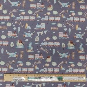 Quilting Patchwork Fabric GRAND ADVENTURE TRAINS GREY 50x55cm FQ