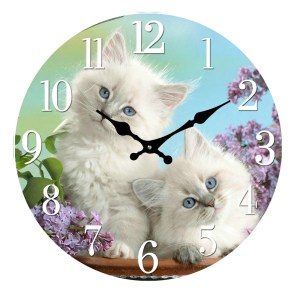 Clock French Country Wall Clocks 30cm TWO KITTENS Glass