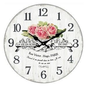 Clock French Country Wall Clocks 30cm LA VIE EN ROSE Glass