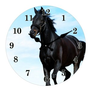 Clock French Country Wall Clocks 30cm BLACK HORSE Glass