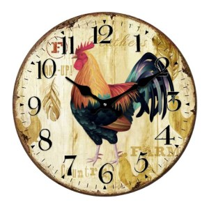 Clock French Country Wall Clocks 17cm ROOSTER Cream Small