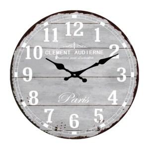 Clock French Country Wall Clocks 38cm Grey PARIS Glass