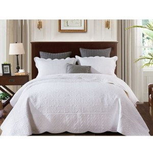 French Country Patchwork Bed Quilt ANTIQUE WHITE Queen Coverlet