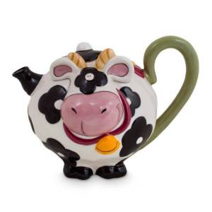 Collectable Novelty Kitchen Teapot BLUE SKY COW China Tea Pot New