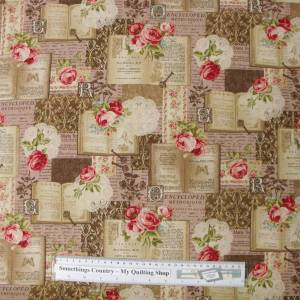 Quilting Patchwork Sewing Fabric ROSES PINK BOOK CHIC Material 50X55cm FQ New