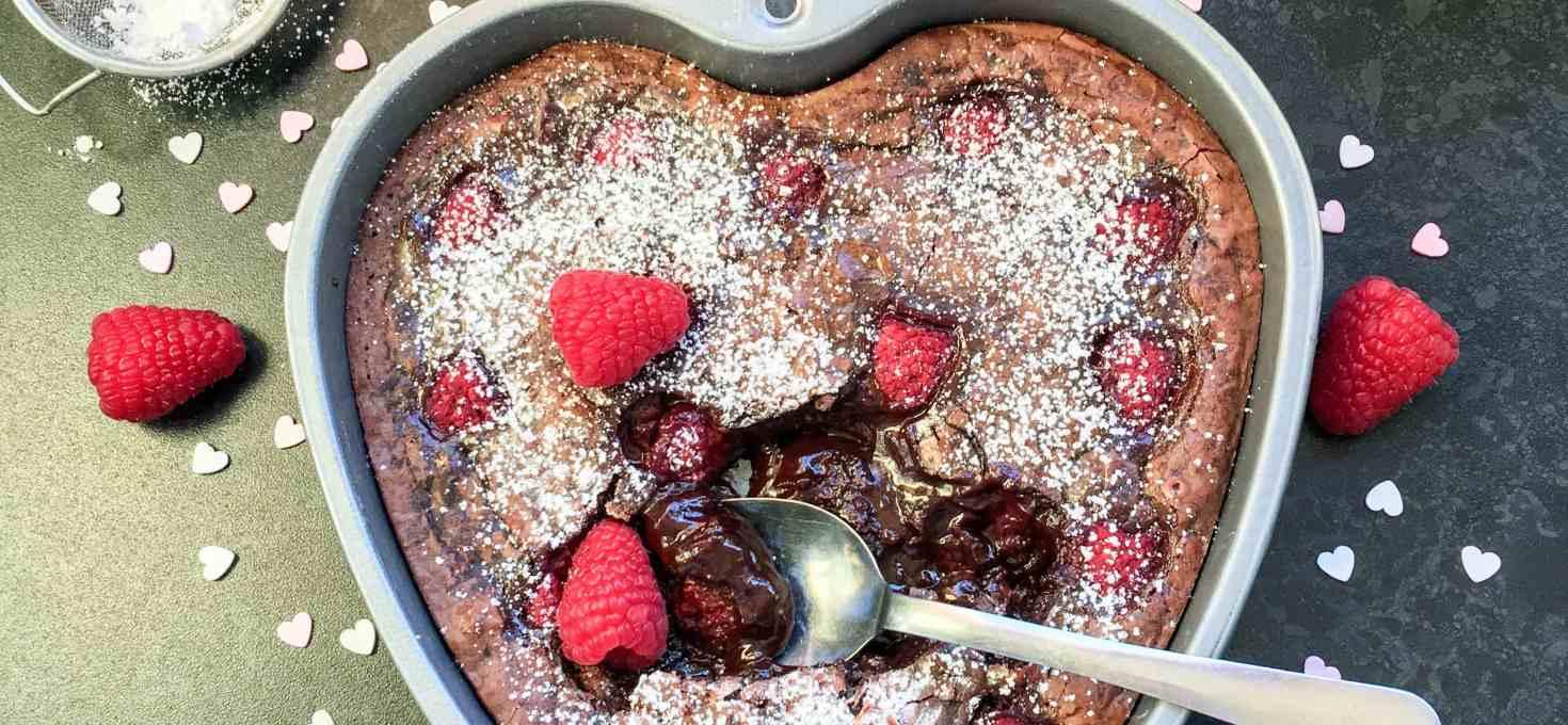 Gooey chocolate raspberry brownie cake