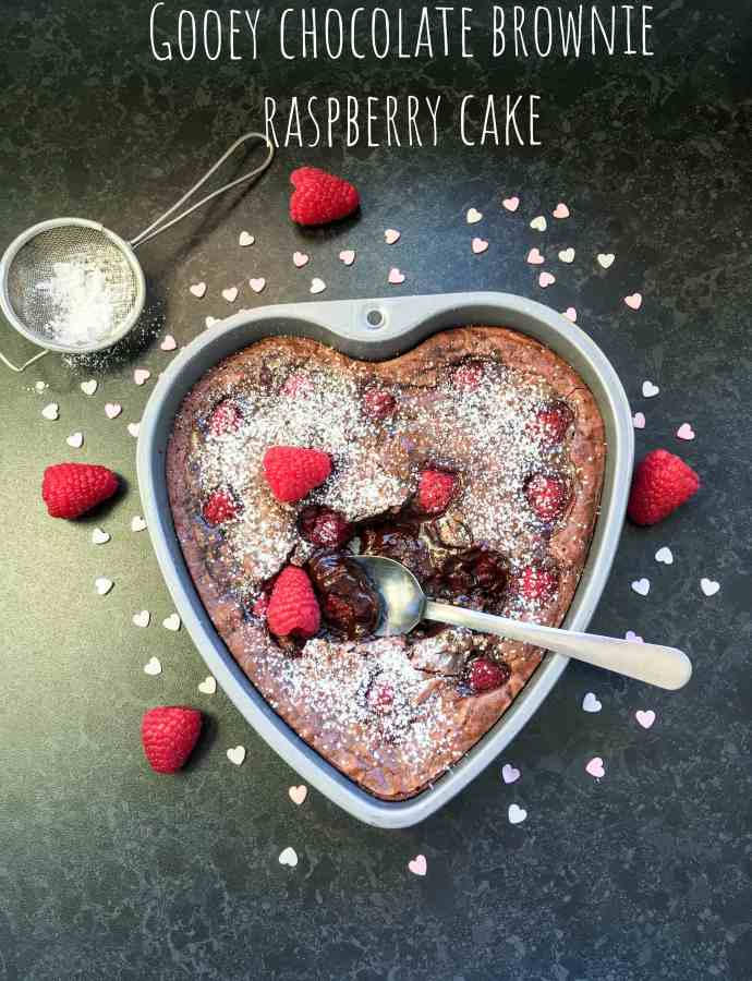 Gooey chocolate raspberry brownie cake